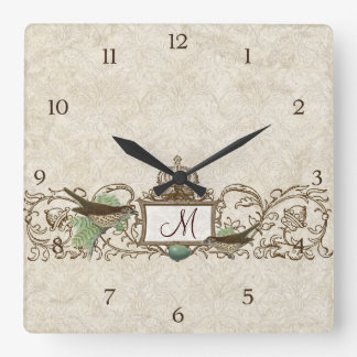 Vintage Robins Egg Blue Birds Scroll Monogram Square Wall Clock