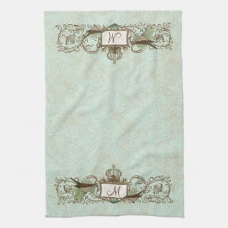 Vintage Robins Egg Blue Birds Scroll Monogram Towel