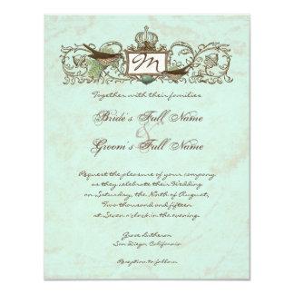Vintage Robins Egg Blue Crown Swirl Flourish Card