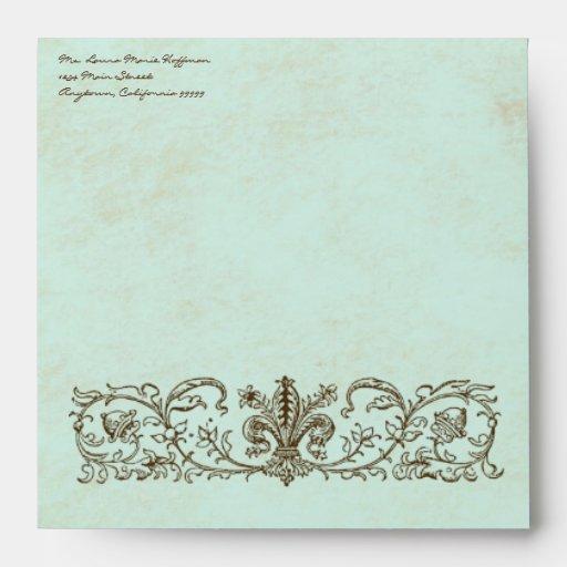 Vintage Robins Egg Blue Crown Swirl Flourish Envelopes