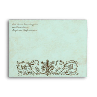 Vintage Robins Egg Blue Crown Swirl Flourish Envelope