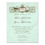 Vintage Robins Egg Blue Crown Swirl Flourish Personalized Invitation