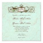 Vintage Robins Egg Blue Crown Swirl Flourish Personalized Invite