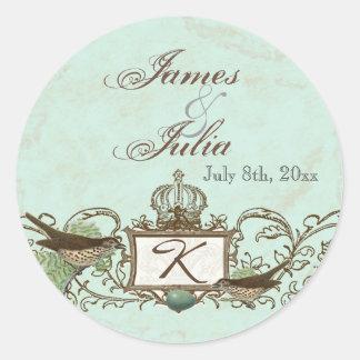 Vintage Robins Egg Blue Crown Swirl Flourish Classic Round Sticker