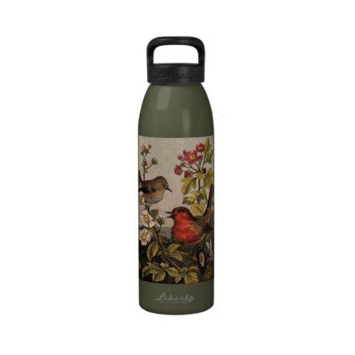 Vintage Robins for Bird Lovers Drinking Bottles