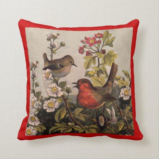 Vintage Robins Throw Pillow