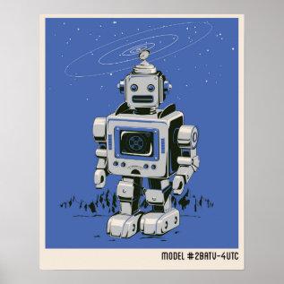 Vintage Robot 2 Blue Poster at Zazzle