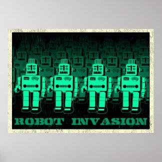 vintage robot invasion poster