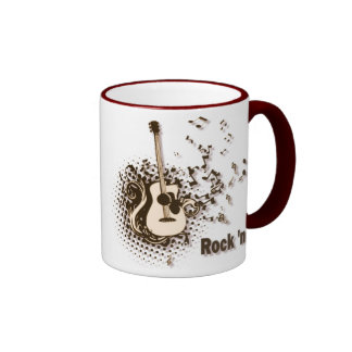 Vintage Rock and Roll Mug with Guitar