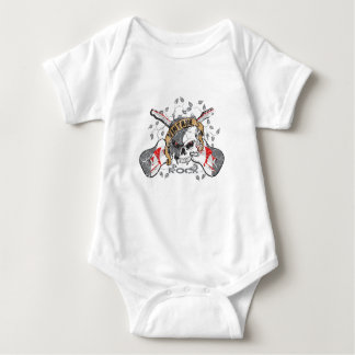 Vintage Rock and Roll Skull and Electric Guitars Baby Bodysuit
