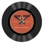 Vintage Rock Guitar Vinyl Record Design Wallclock