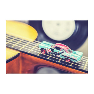 Vintage Rock & Roll Car Miniature on Guitar Canvas Stretched Canvas Print