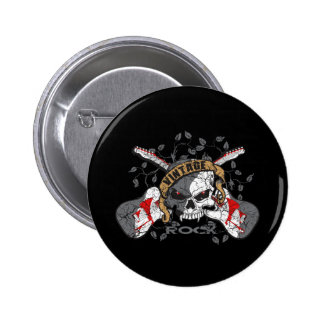 Vintage Rock Skull and Electric Guitars 2 Inch Round Button