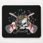 Vintage Rock Skull and Electric Guitars Mouse Pad