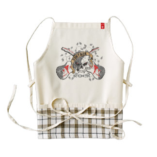 Vintage Rock Skull and Electric Guitars Zazzle HEART Apron