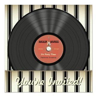 Vintage Rock Vinyl Record Party Invitations