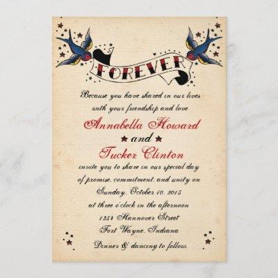 Vintage Rockabilly Tattoo Wedding Invitation