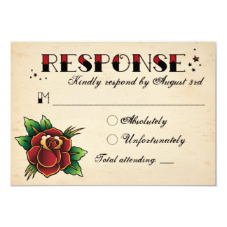 Vintage Rockabilly Tattoo Wedding RSVP 3.5x5 Paper Invitation Card