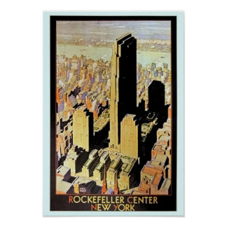 Vintage Rockefeller Center New York City travel Ad Posters