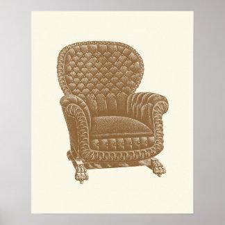 Vintage Rocker Brown Chair 1900s Cool Furniture Poster