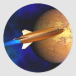 vintage rocket classic round sticker