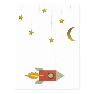 Vintage Rocket en espacio Tarjeta Postal