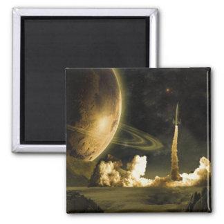 Vintage Rocket Launch Magnet