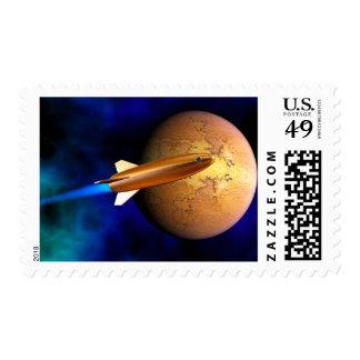 vintage rocket postage stamp