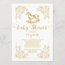 Vintage Rocking Horse Baby Shower Invitation