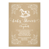 Vintage Rocking Horse Baby Shower Invitation