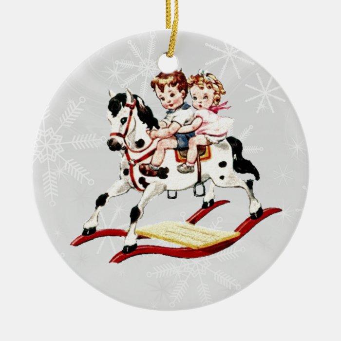 Vintage Rocking Horse Ceramic Ornament