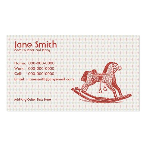 Vintage Rocking Horse Contact Card Business Card