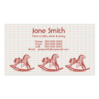 Vintage Rocking Horse Contact Cards Business Card Templates