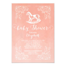 Vintage Rocking Horse Girls Baby Shower Invitation