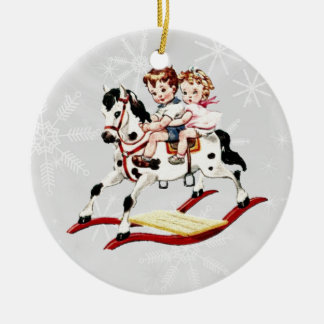 Vintage Rocking Horse V2 Ceramic Ornament