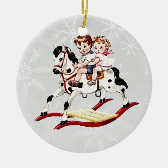 Vintage Rocking Horse V2 Ceramic Ornament