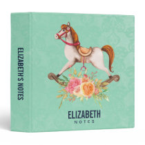 Vintage Rocking Horse with Floral Bouquet 3 Ring Binder