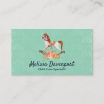 Vintage Rocking Horse with Floral Bouquet Business Card