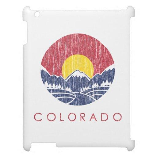 Vintage Rocky Mountain Colorado Sunset Logo iPad Case