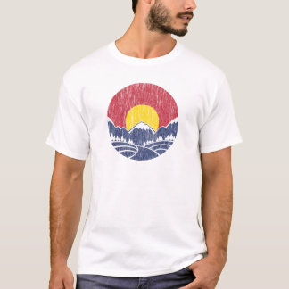 Vintage Rocky Mountain Sunset Logo T-Shirt
