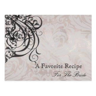 Vintage Rococo Black Bridal Shower Recipe Card Postcard