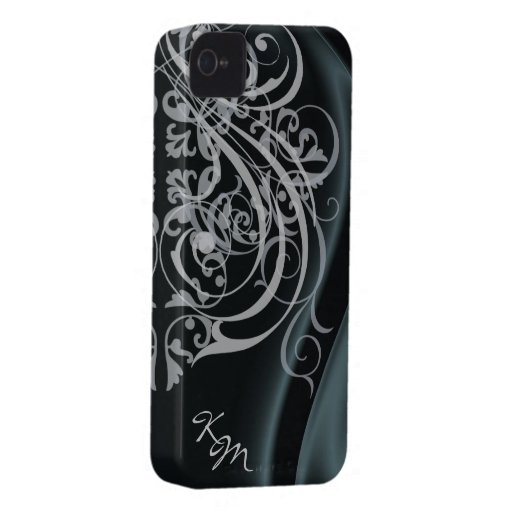 Vintage Rococo Black Silk Barely There Case iPhone 4 Case