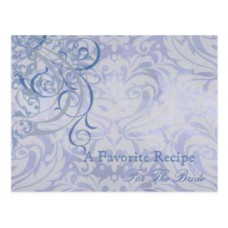 Vintage Rococo Blue Bridal Shower Recipe Card Postcard