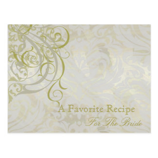 Vintage Rococo Gold Bridal Shower Recipe Card