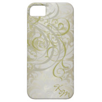 Vintage Rococo Gold Monogram Barely There Case iPhone 5 Cover