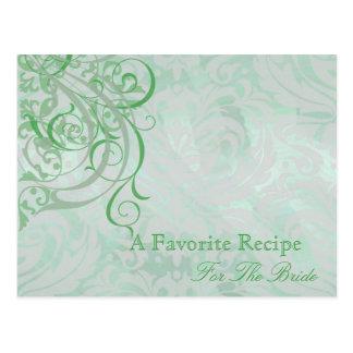 Vintage Rococo Green Bridal Shower Recipe Card Postcard