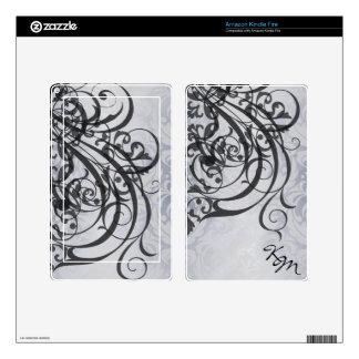 Vintage Rococo Monogram Black Scroll Kindle Skin