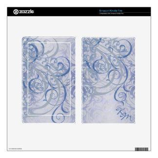 Vintage Rococo Monogram Blue Scroll Kindle Skin