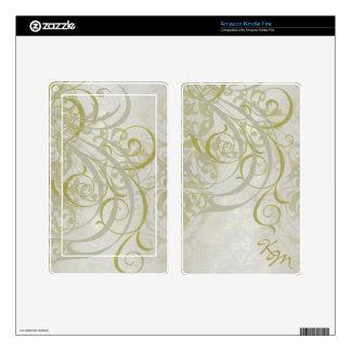 Vintage Rococo Monogram Gold Scroll Kindle Skin