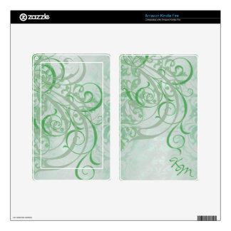 Vintage Rococo Monogram Green Scroll Kindle Skin
